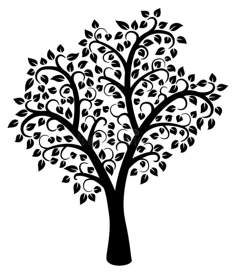 árbol blanco y negro del vector libre illustration