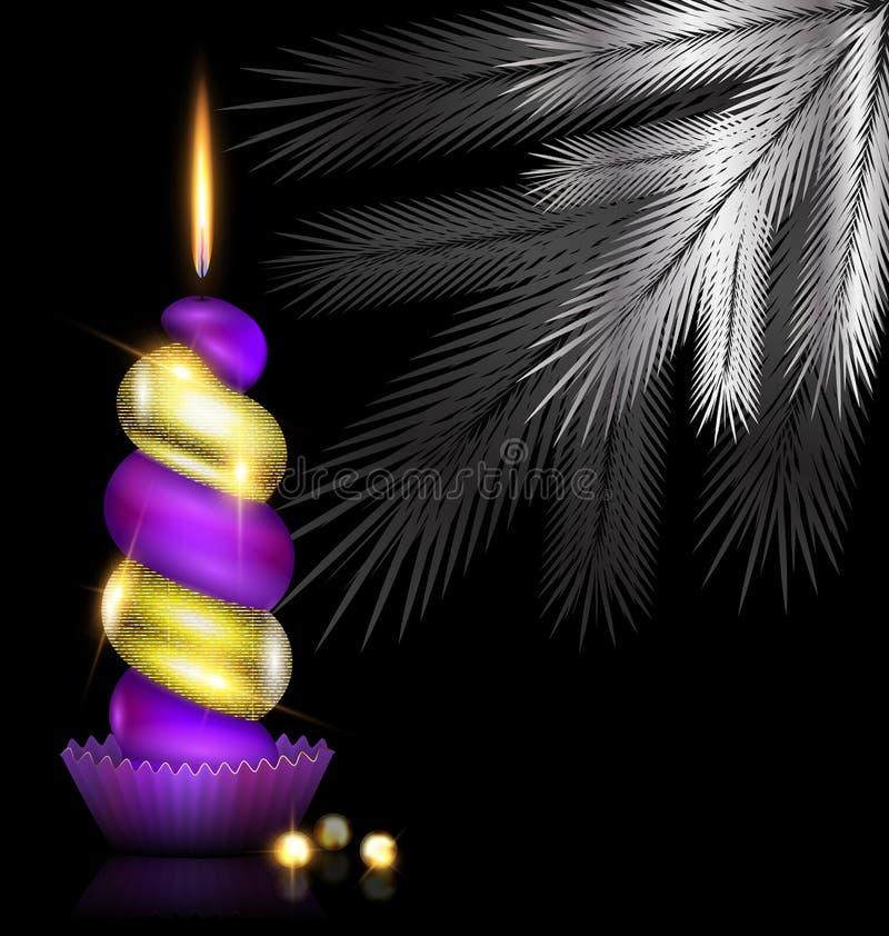 Árbol blanco y vela de oro púrpura stock de ilustración