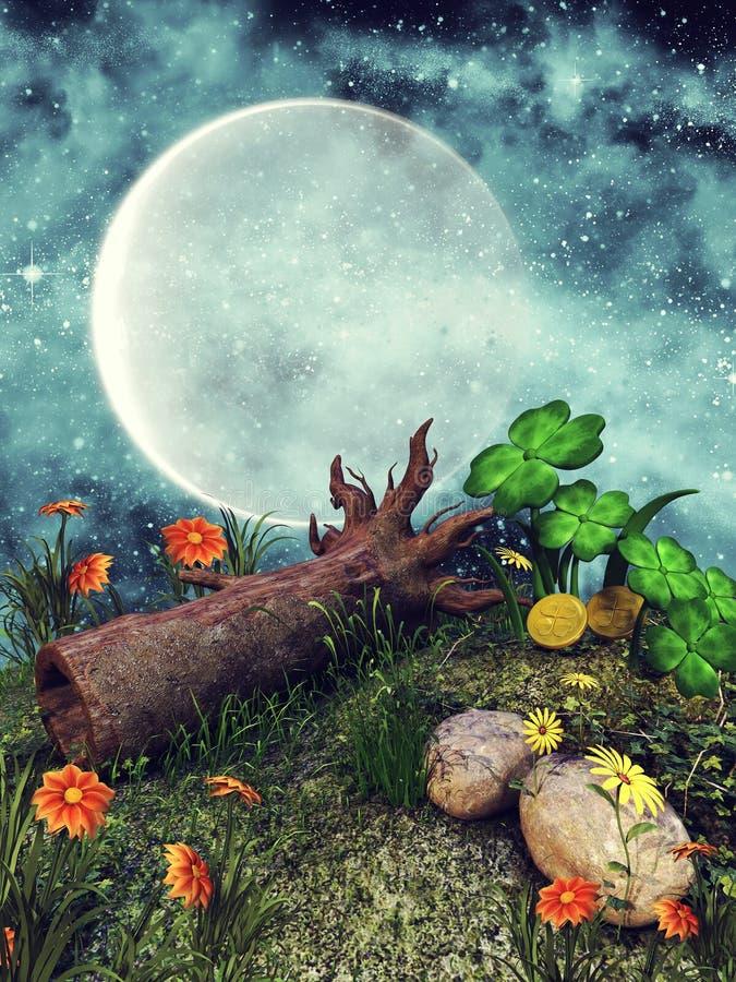 Árbol caido en un prado stock de ilustración