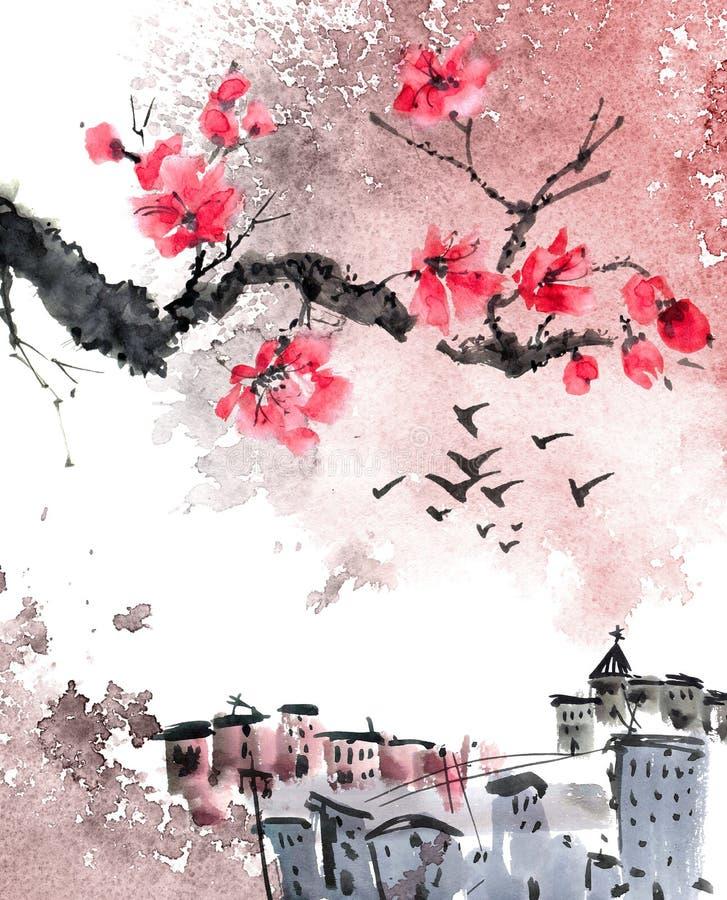 Árbol chino de Sakura del paisaje y del flor de la ciudad vieja ilustración del vector