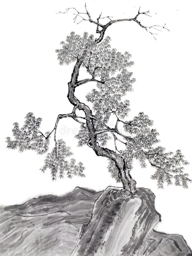 Árbol chino del gráfico de cepillo de la tinta stock de ilustración