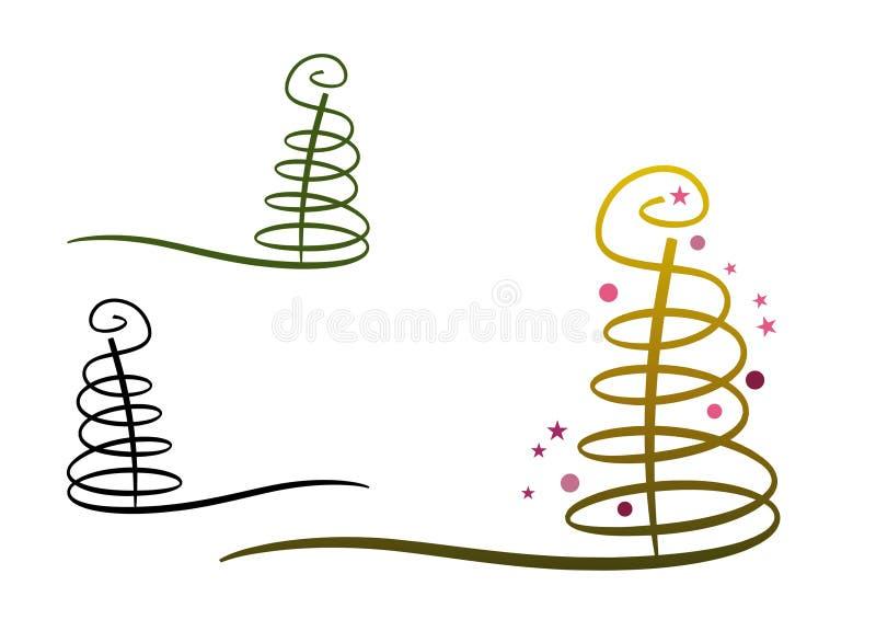 Árbol cobarde de Navidad del extracto stock de ilustración