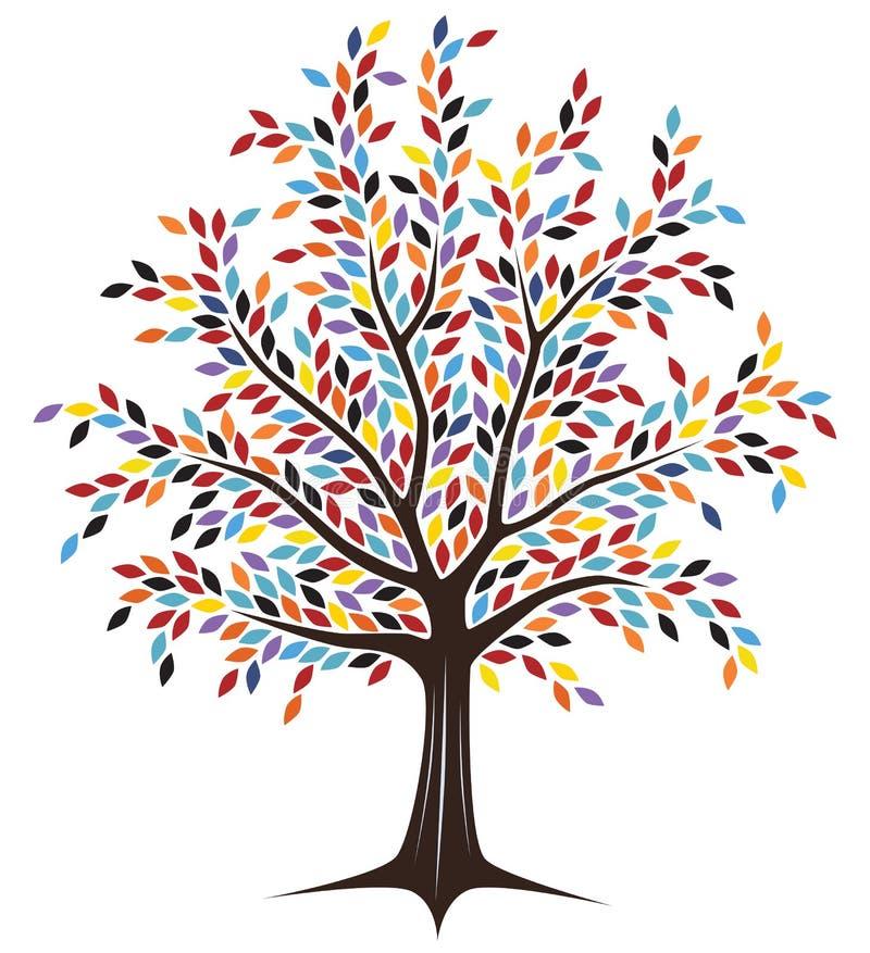 Árbol coloreado ilustración del vector