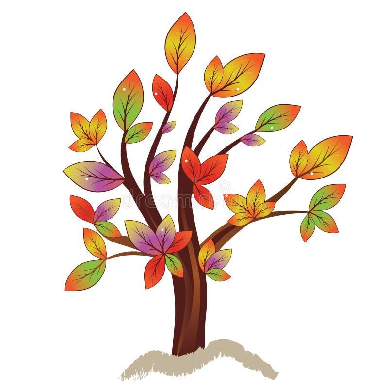Árbol colorido abstracto del otoño. ilustración del vector