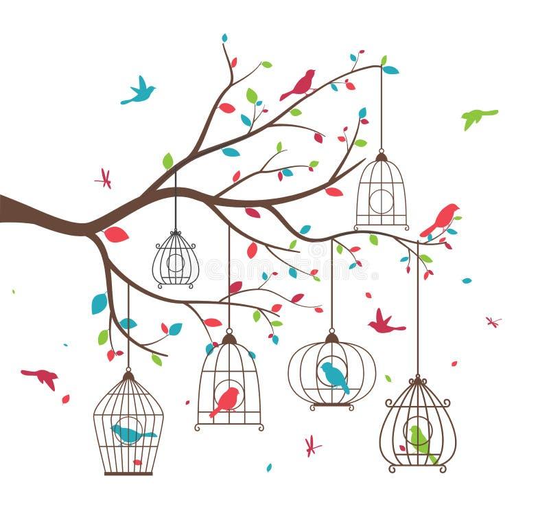 Árbol colorido con los pájaros y los birdcages stock de ilustración
