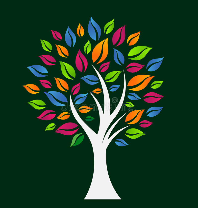 Árbol colorido de la esperanza stock de ilustración