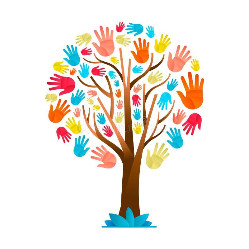 Árbol colorido de la mano para el equipo de la diversidad cultural ilustración del vector