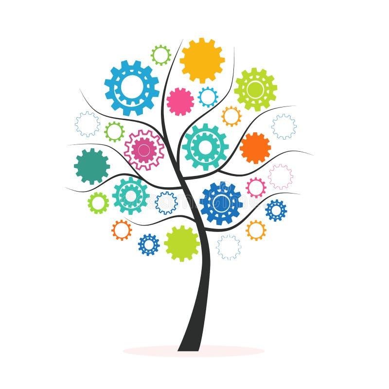 Árbol colorido del concepto industrial de la innovación hecho de vector de los dientes y de los engranajes stock de ilustración