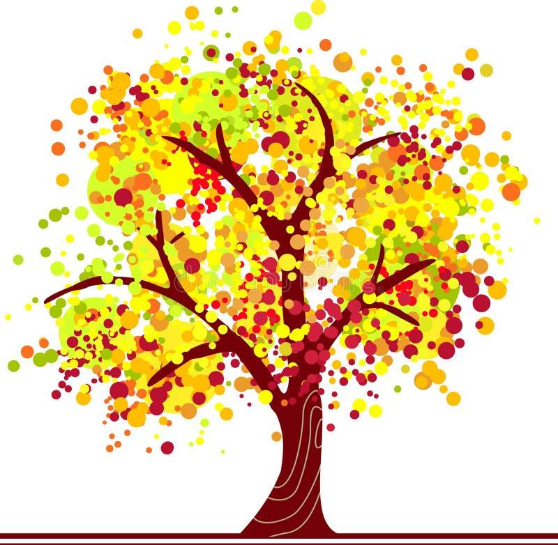 Árbol colorido del otoño stock de ilustración