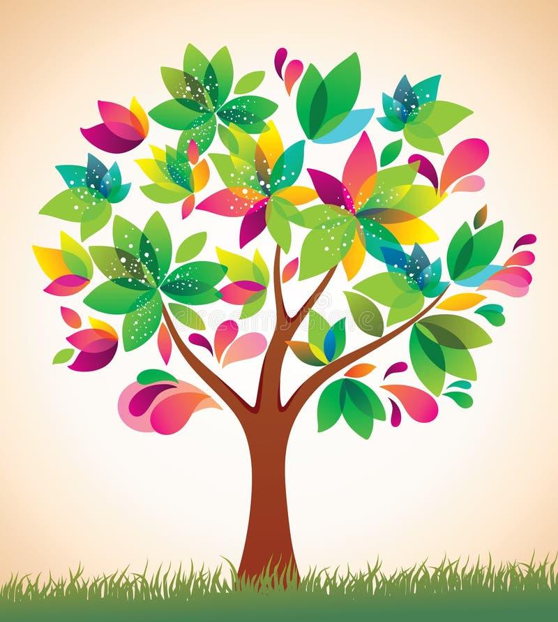 Árbol colorido hermoso. ilustración del vector