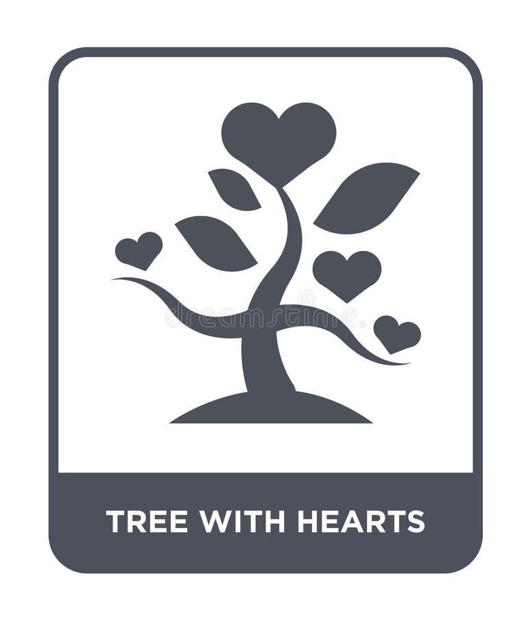 árbol con el icono de los corazones en estilo de moda del diseño árbol con el icono de los corazones aislado en el fondo blanco á stock de ilustración