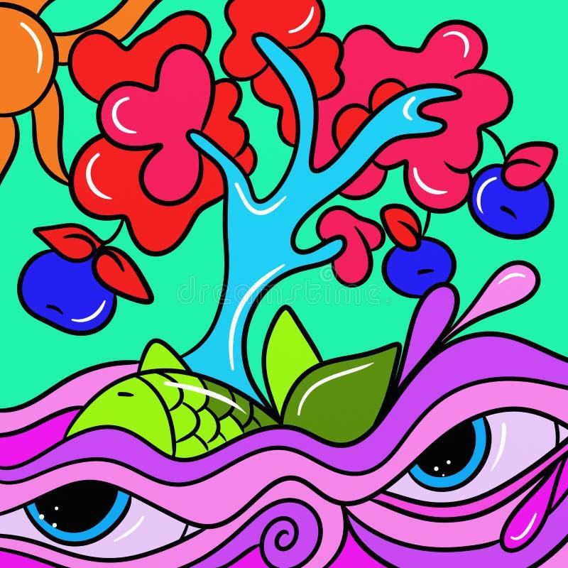 Árbol con el mar púrpura y azul ilustración del vector
