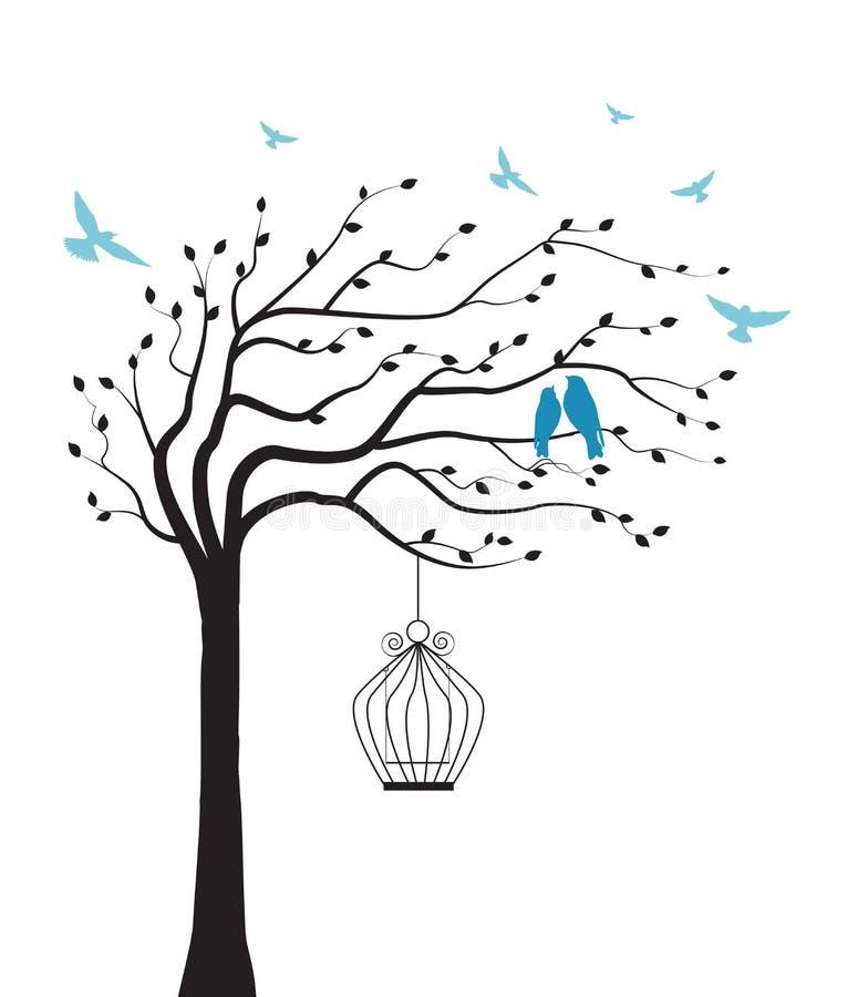Árbol con el pájaro y la jaula stock de ilustración