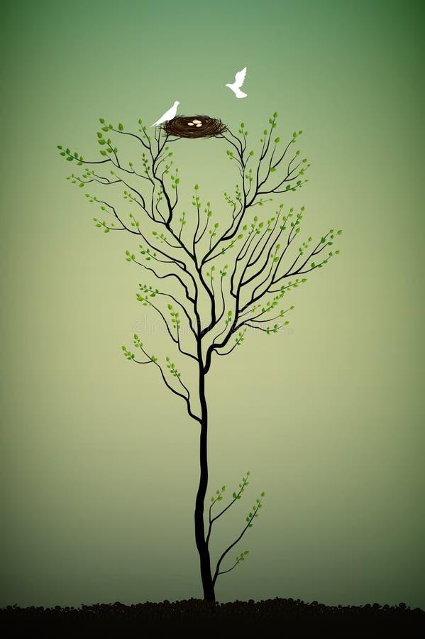 Árbol con la jerarquía y dos pájaros blancos, árbol de la primavera de la elegancia, libre illustration