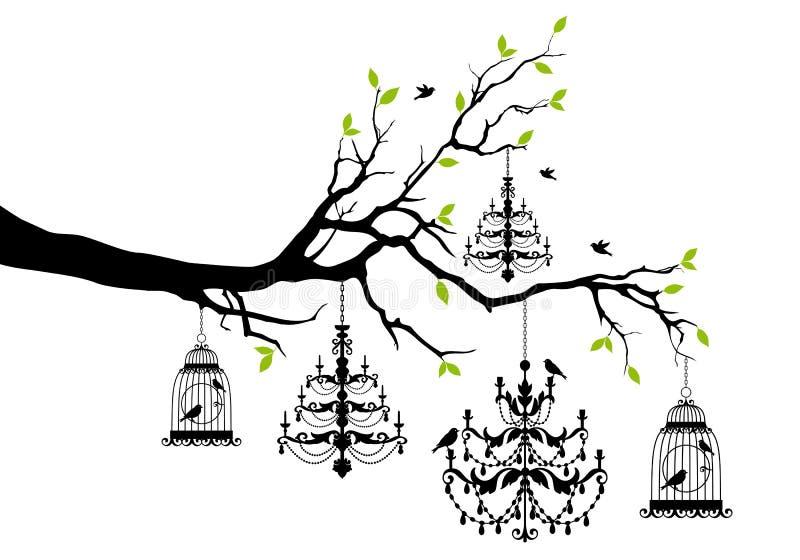 Árbol con la lámpara y el birdcage, vector ilustración del vector