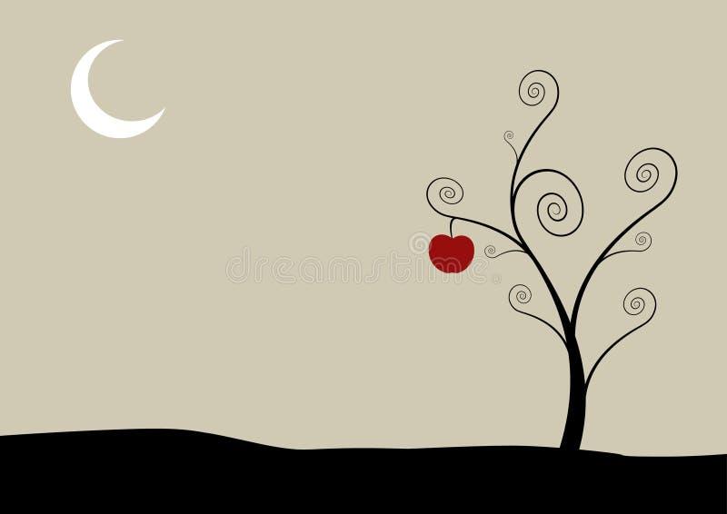 Árbol con la luna y la manzana. ilustración del vector