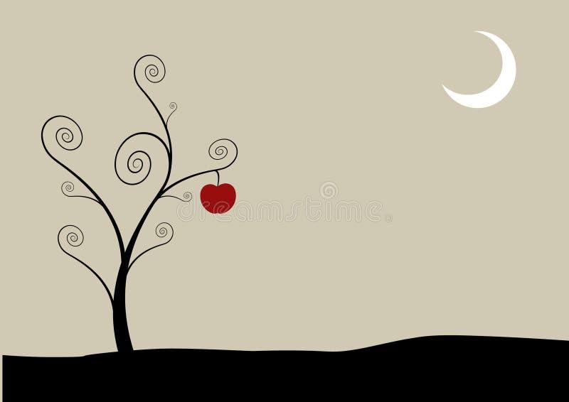 Árbol con la luna y la manzana. stock de ilustración