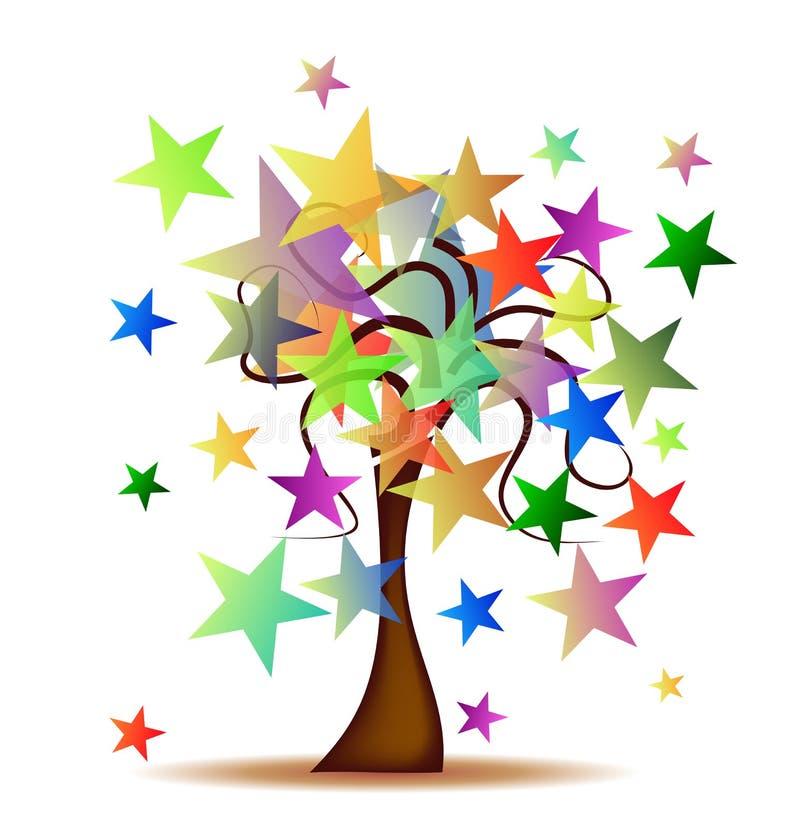 Árbol con las estrellas stock de ilustración