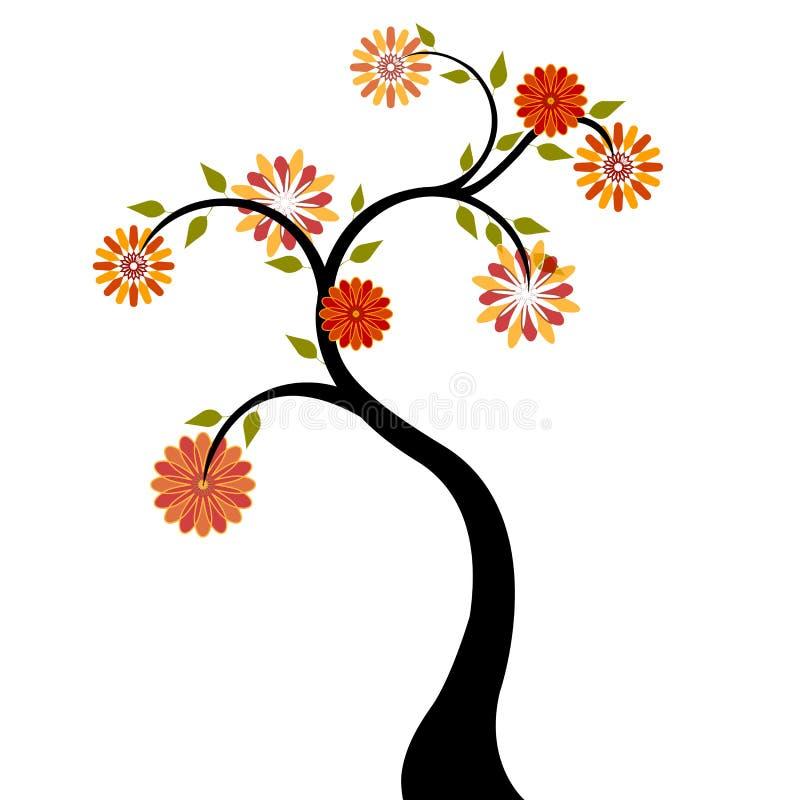 Árbol con las flores anaranjadas rojas stock de ilustración