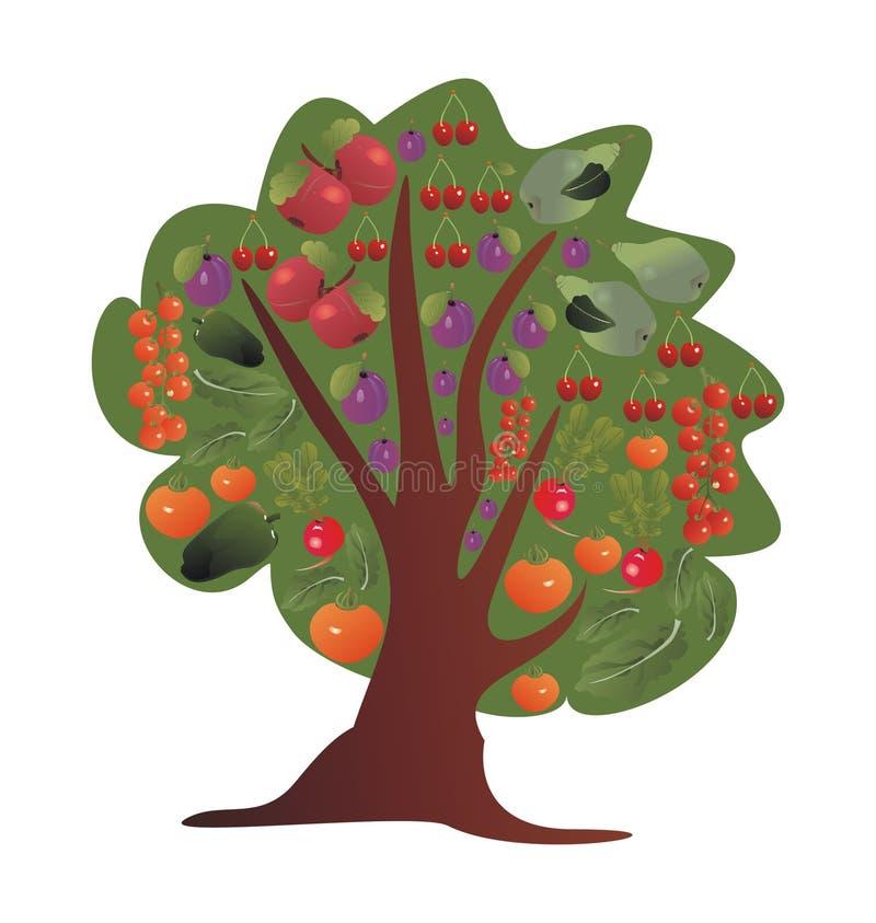Árbol con las frutas y verduras stock de ilustración