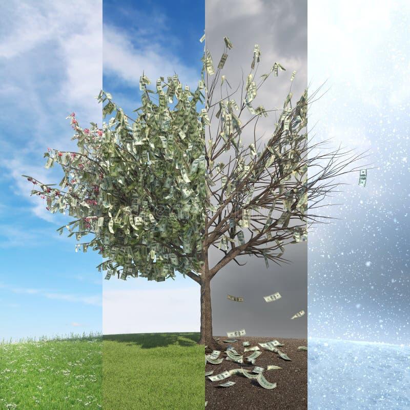 Árbol con las hojas del dinero - sesaon cuatro foto de archivo libre de regalías