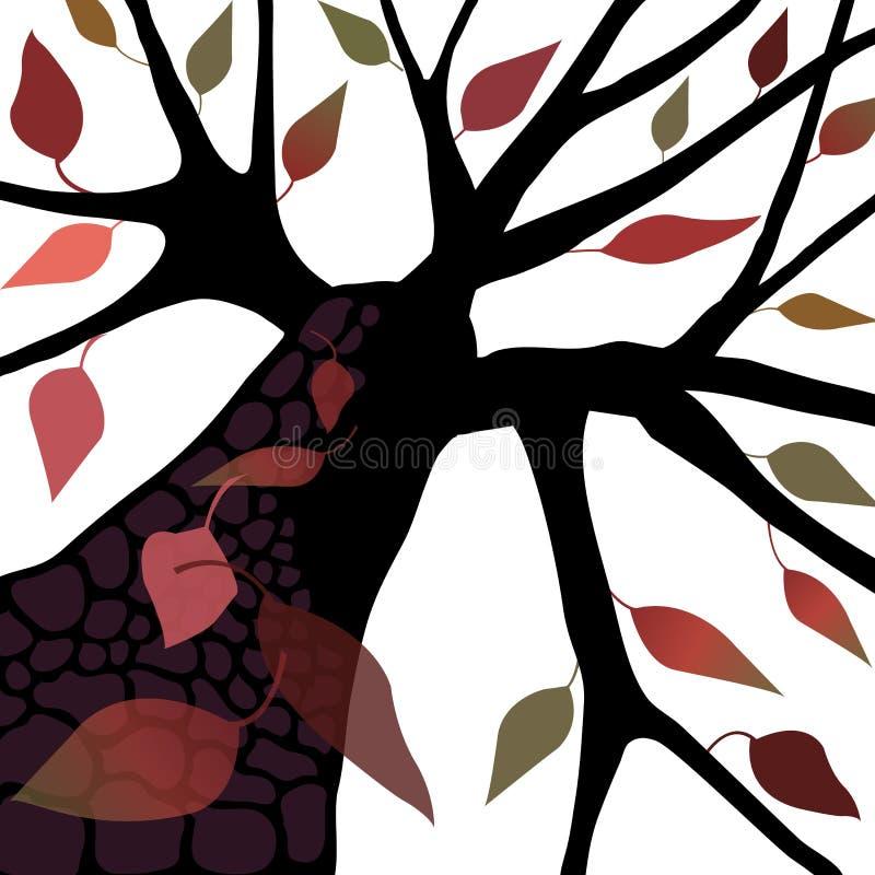 Árbol con las hojas del otoño/de la caída ilustración del vector