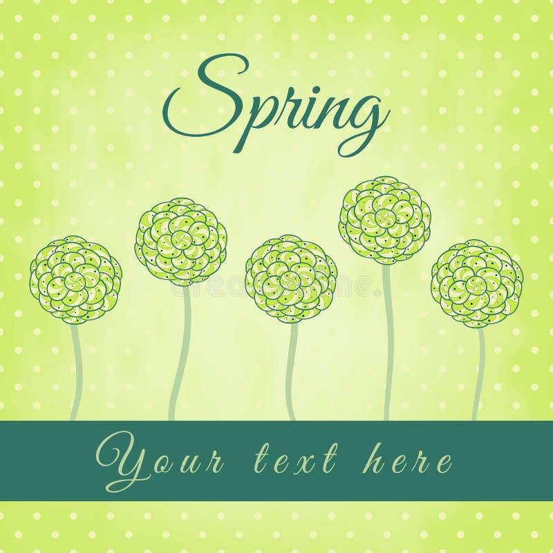 Árbol con las hojas espirales verdes, tema de la primavera stock de ilustración