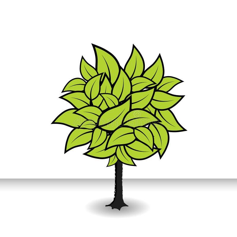 Árbol con las hojas verdes. Vector ilustración del vector
