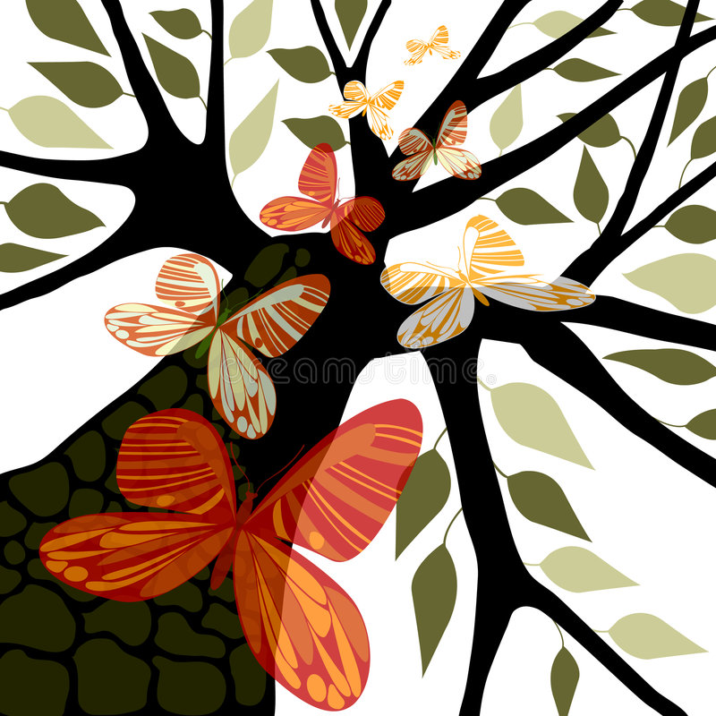 Árbol con las hojas y las mariposas imagen de archivo