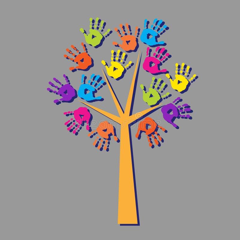 Árbol con las impresiones de manos con la sombra stock de ilustración
