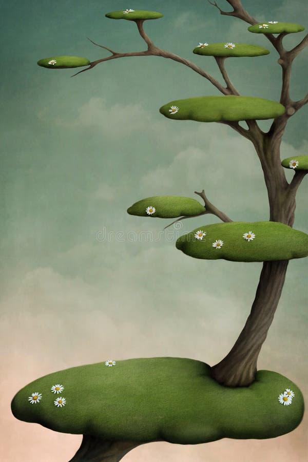 Árbol con las islas verdes ilustración del vector