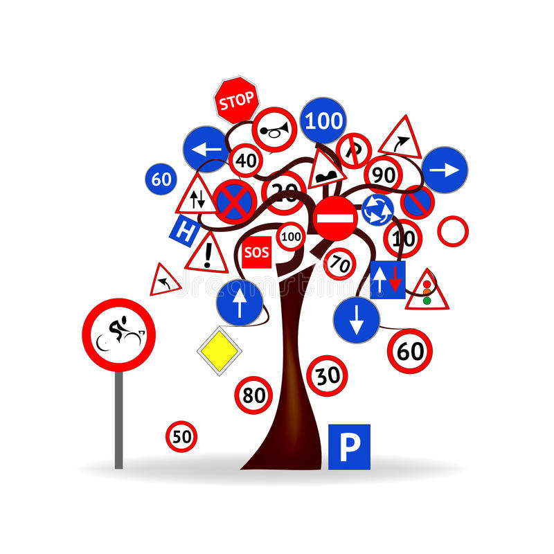 Árbol con las señales de tráfico ilustración del vector
