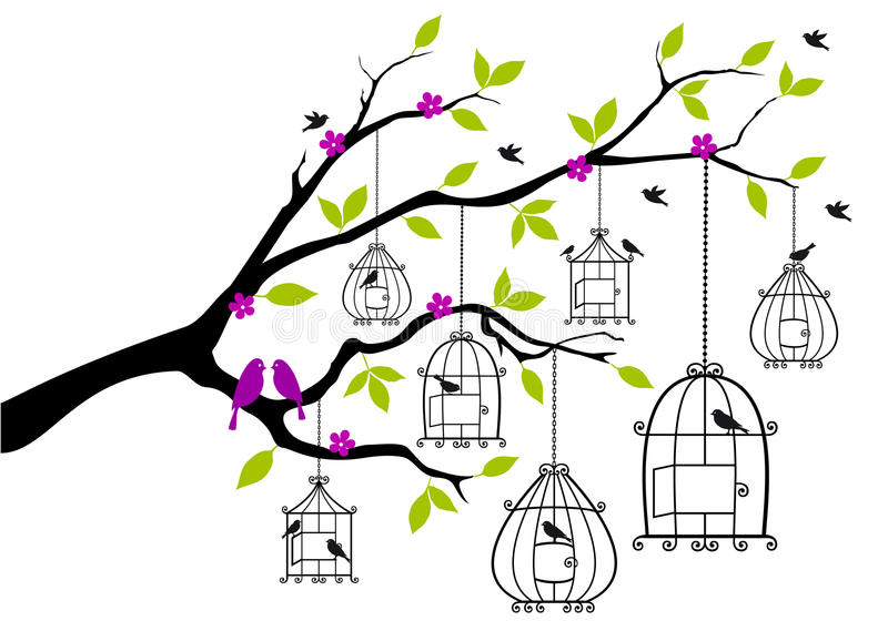 Árbol con los birdcages abiertos, vector stock de ilustración