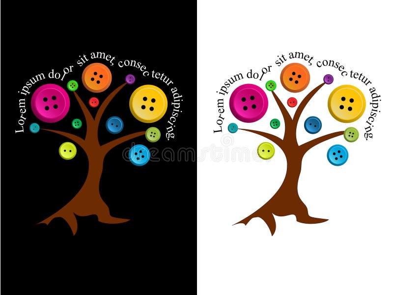 Árbol con los botones y el texto editable stock de ilustración