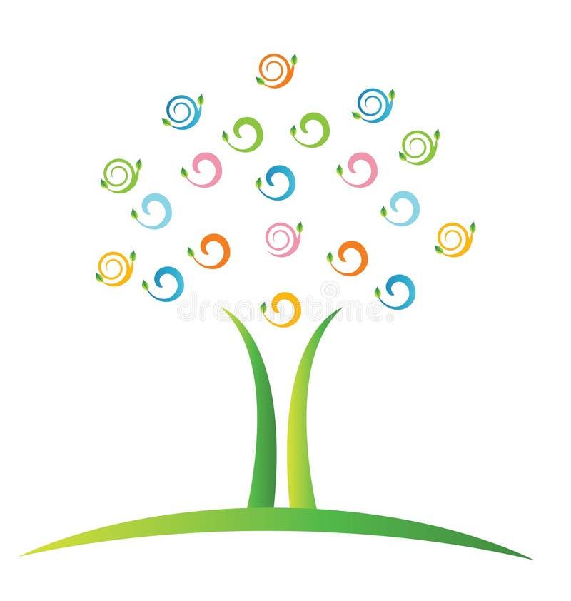 Árbol con swirly las hojas stock de ilustración