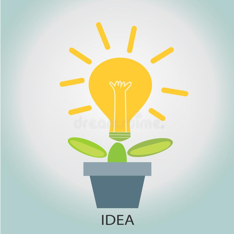 Árbol con un bulbo de flor concepto de plantar vector de las ideas libre illustration