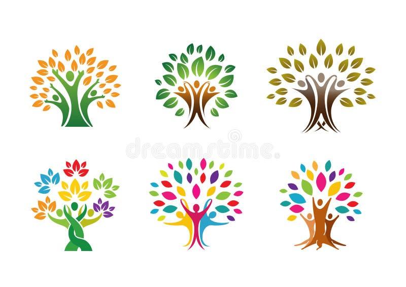 Árbol creativo Logo Design Illustration de tres personas ilustración del vector