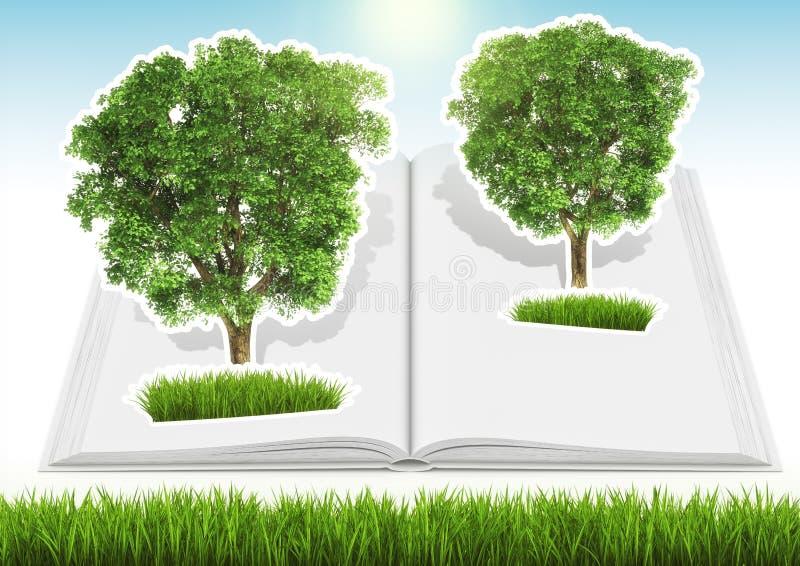 Árbol crecido en libro abierto con la hierba y el cielo libre illustration