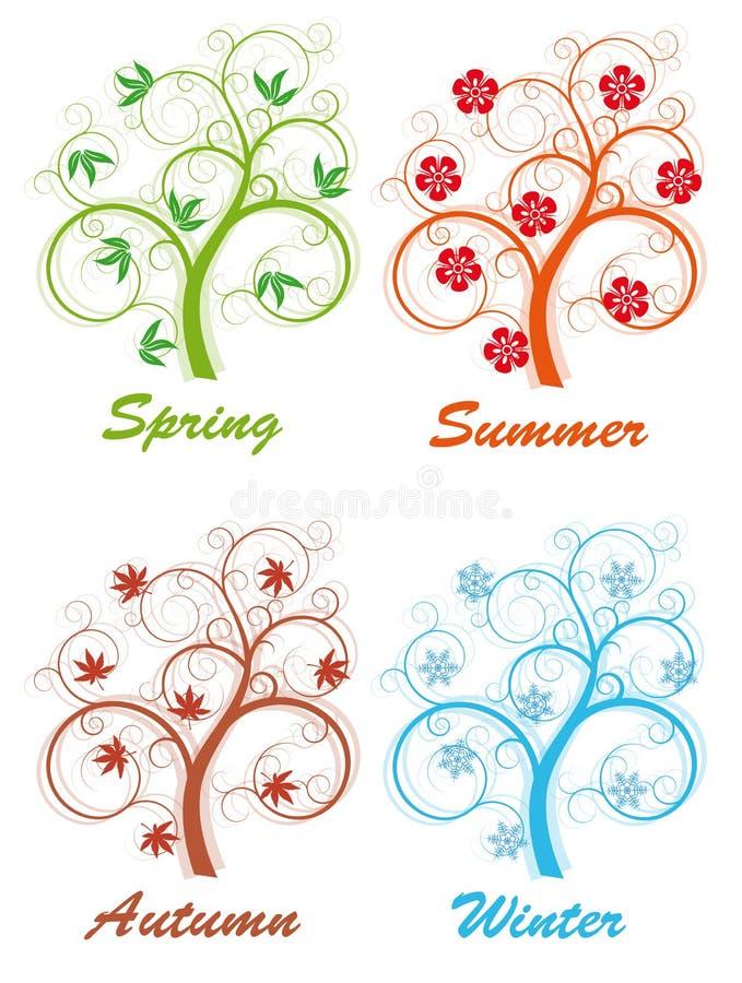 Árbol cuatro estaciones ilustración del vector