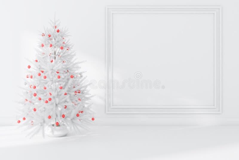 Árbol de abeto blanco con las decoraciones en sitio vacío stock de ilustración