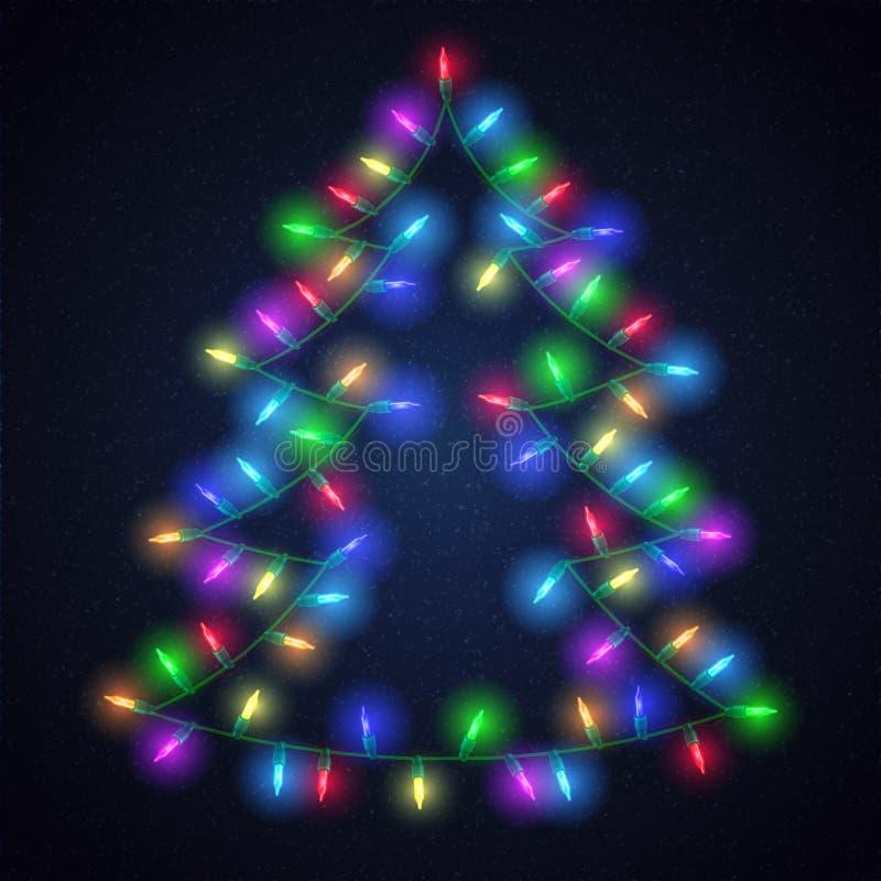 Árbol de abeto brillante con las luces de la Navidad ilustración del vector