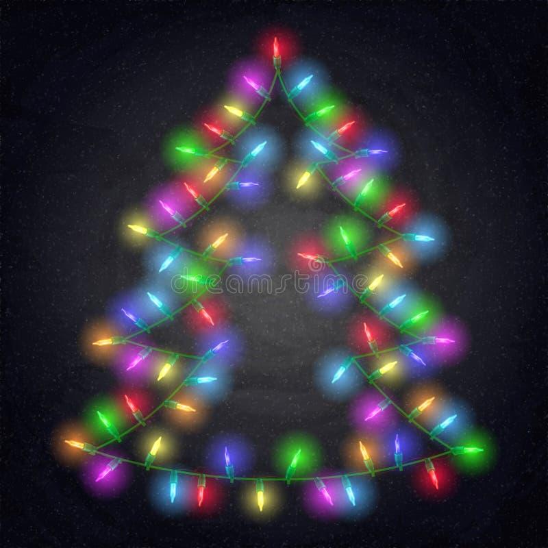 Árbol de abeto brillante con las luces de la Navidad en fondo de la pizarra stock de ilustración