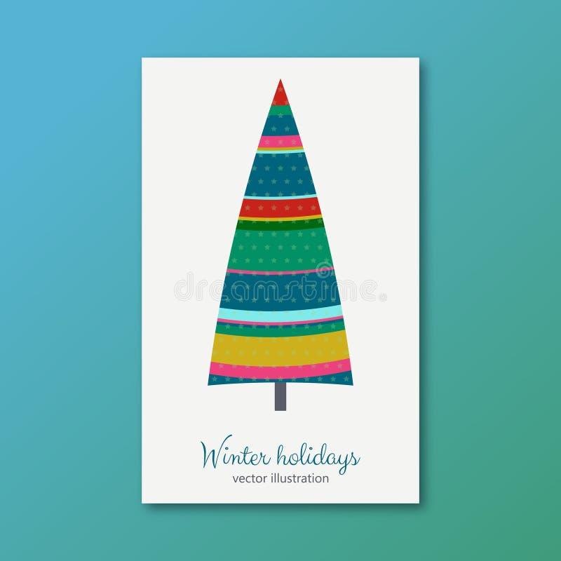Árbol de abeto colorido de las vacaciones de invierno con las estrellas libre illustration