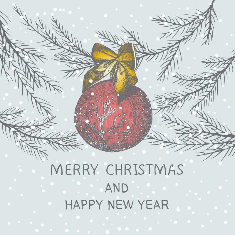 Árbol de abeto exhausto de la mano de la Navidad para el diseño de la Navidad Con la bola y el arco Diseño de la invitación del d ilustración del vector