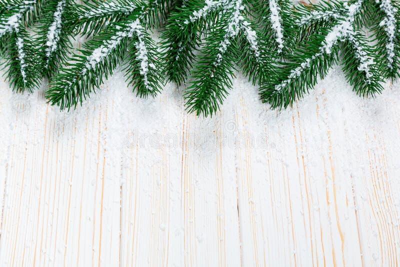 Árbol de abeto de la Navidad con nieve en el fondo de madera blanco fotografía de archivo libre de regalías