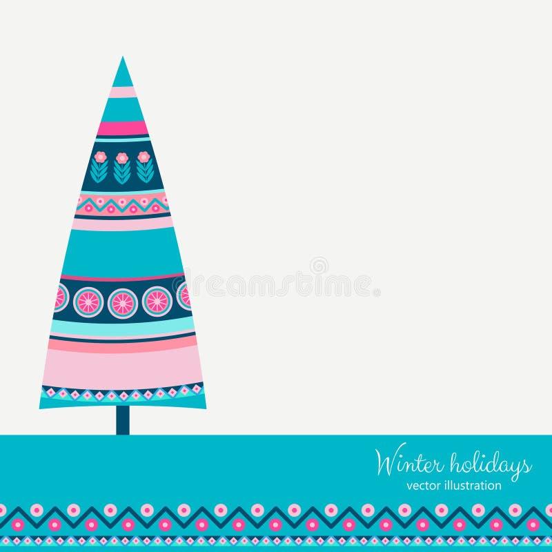 Árbol de abeto de las vacaciones de invierno en estilo étnico libre illustration