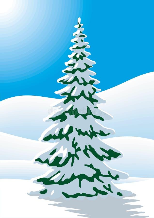 Árbol de abeto nevado stock de ilustración