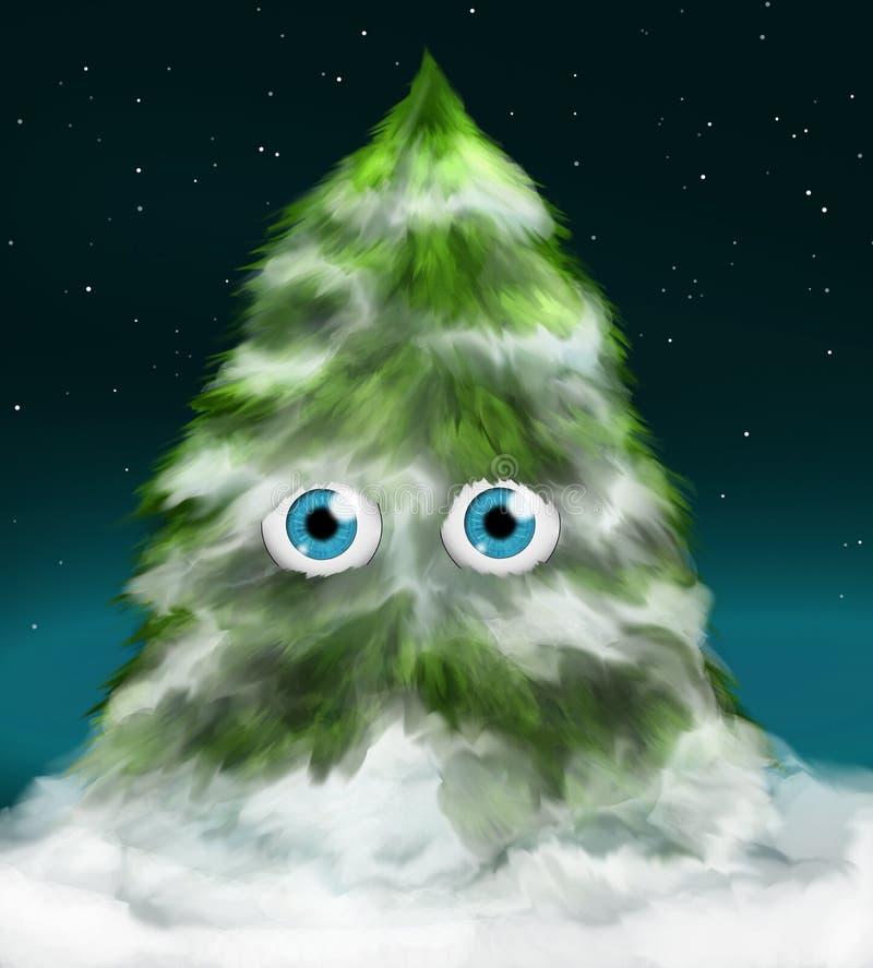 Árbol de abeto Nevado con los ojos stock de ilustración