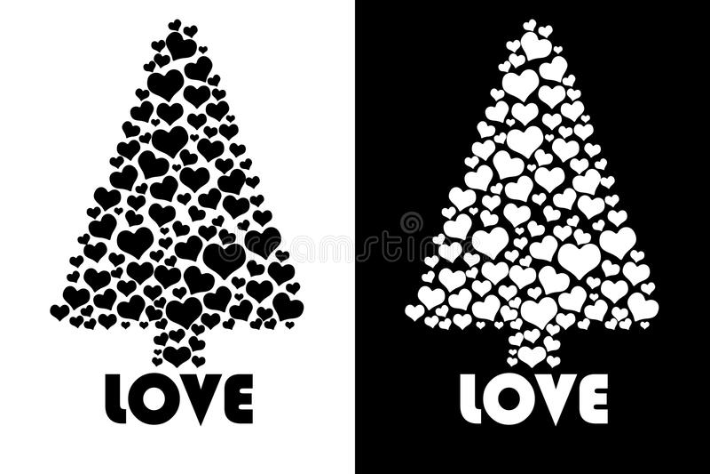 Árbol de amor aislado stock de ilustración