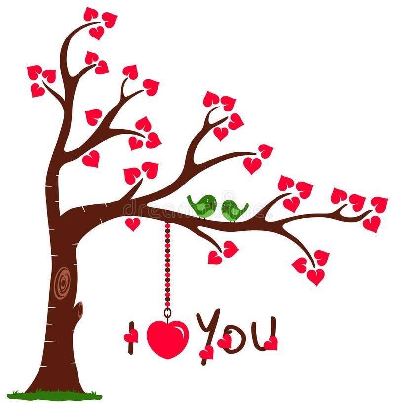 Árbol de amor con te amo ilustración del vector